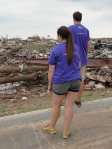 Whirlwind Roofing owner Brooke Laizure and her brother Adam Laizure volunteering to clean up after the Moore tornado